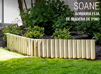 Bordura fija de madera de pino for Borde plastico para jardin
