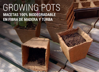 Macetas 100% biodegradable en fibra de madera y turba