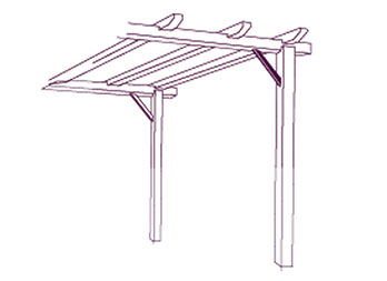 Kit para pérgola mediana, rectangular de 3,60 x 2,40 m