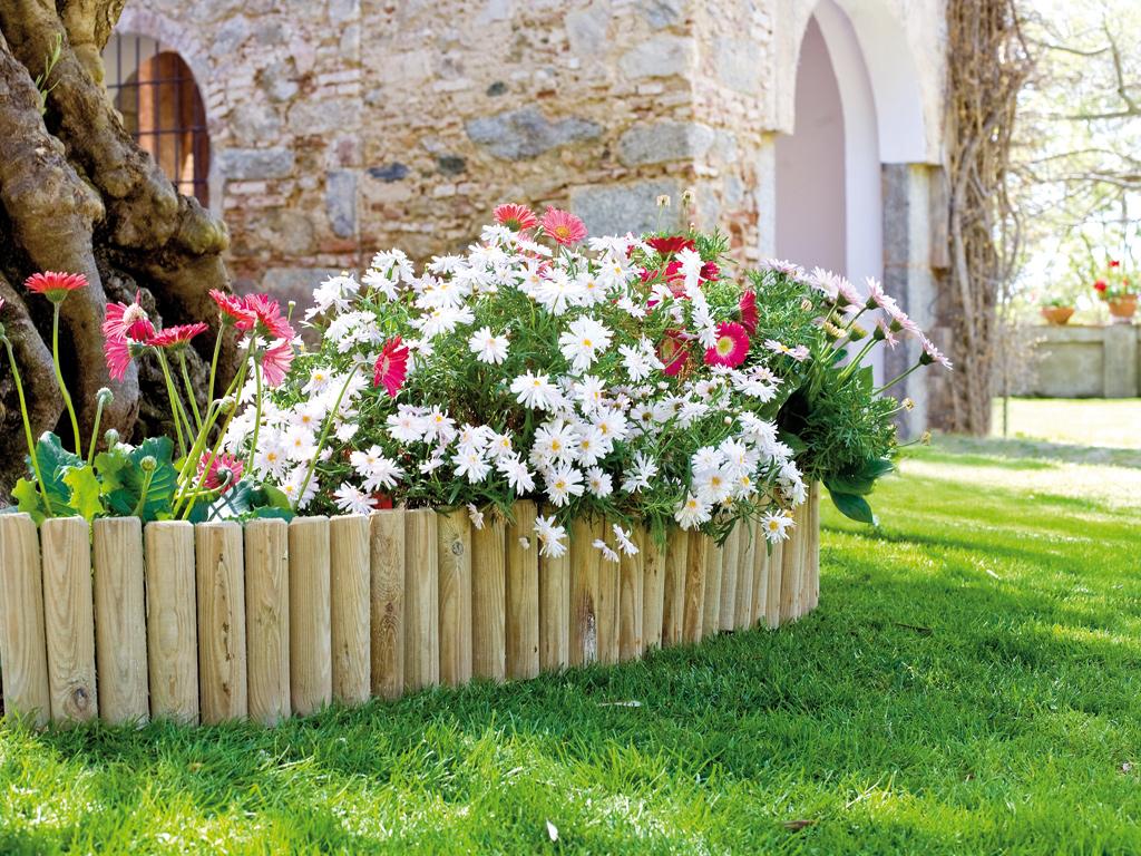 Bordura de madera de pino enrollable nortene - Bordillos para jardines ...