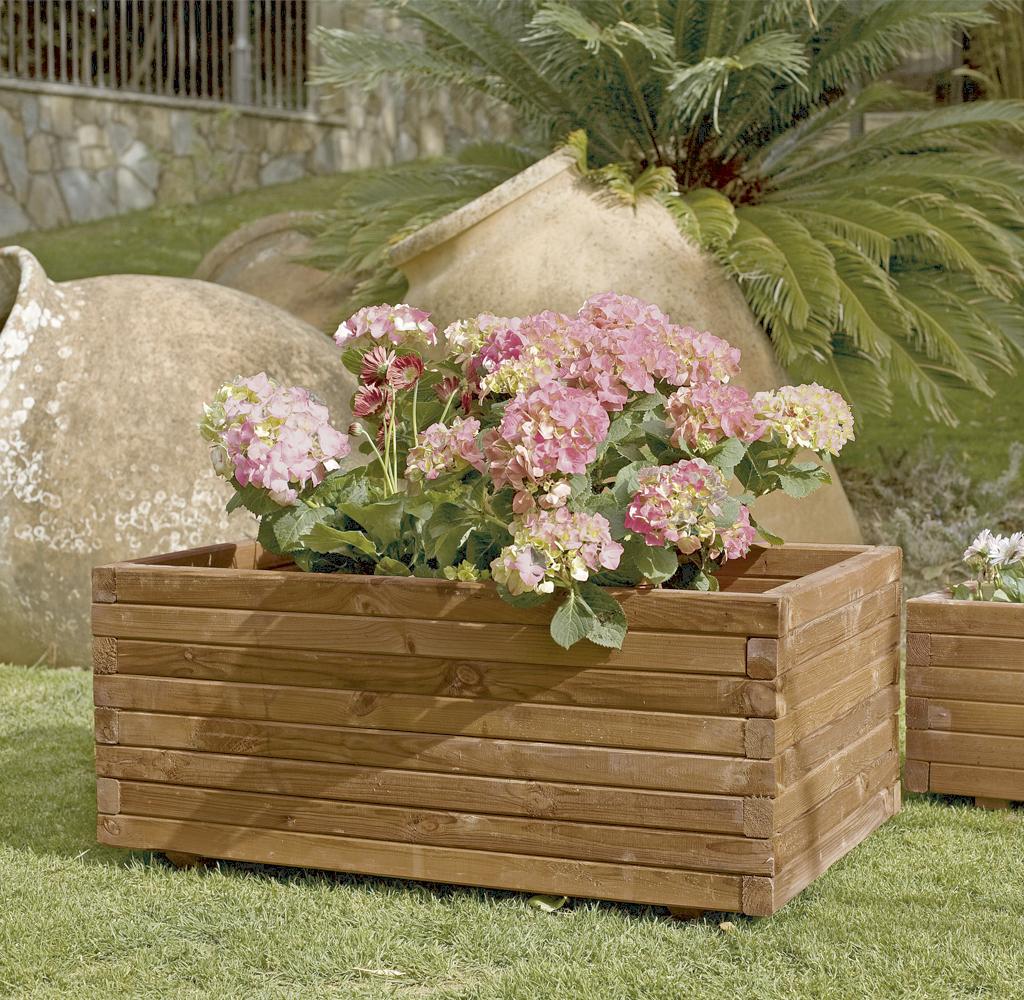 Jardinera rectangular de madera tintada nortene - Jardineras de madera caseras ...